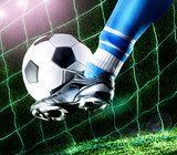 Foot kicking soccer ball  Sport Plakat