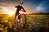 Sport bike, cycling in the beautiful meadow  Sport Plakat