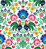 Seamless traditional floral Polish pattern - Wzory Łowickie  Folklor Fototapeta