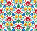 Seamless floral polish pattern - ethnic background  Folklor Fototapeta