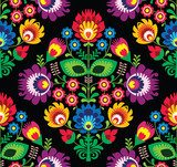 Seamless traditional floral Polish pattern on black  Folklor Fototapeta