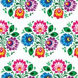Seamless traditional floral pattern from Poland on white  Folklor Fototapeta