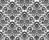 Seamless floral polish pattern in black and white  Folklor Fototapeta