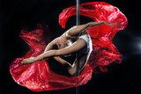 pole dance woman with red silks  Sport Plakat