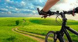 Man with bicycle riding country road  Sport Plakat