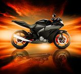 3D Image of Motorcycle with Skyline Horizon  Pojazdy Fototapeta