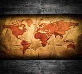 Antique world map in grunge wooden frame  Mapa Świata Fototapeta