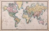 Old World map on creased and stained parchment paper  Mapa Świata Fototapeta