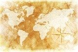 Rustic World Map  Mapa Świata Fototapeta