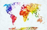 Watercolor world map  Mapa Świata Fototapeta