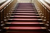 Empty wooden staircase with red carpet  Schody Fototapeta