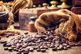 Roasted coffee beans in vintage setting  Kawa Fototapeta