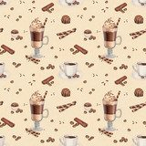 Seamless pattern with illustrations of coffee cup and chocolate  Kawa Fototapeta