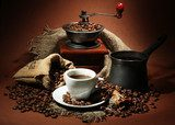 cup of coffee, grinder, turk and coffee beans  Kawa Fototapeta