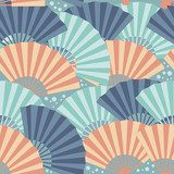 Colorful japanese fan seamless pattern  Orientalne Fototapeta