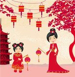 Mid-Autumn Festival for Chinese New Year , Abstract card  Orientalne Fototapeta