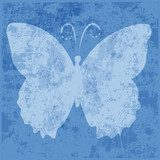 background,butterfly,blue,grunge,vector,shilhouette  Motyle Fototapeta