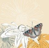 Illustration of beautiful butterflies flying around flower.  Motyle Fototapeta
