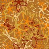 Floral butterfly abstract background, seamless  Motyle Fototapeta
