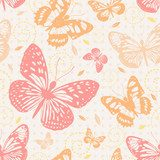Seamless pattern with butterflies in neutral colors  Motyle Fototapeta