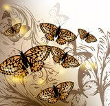 Background with vector butterflies for design  Motyle Fototapeta