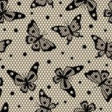 Seamless vintage fashion lace pattern with butterflies.  Motyle Fototapeta
