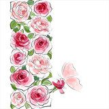 Stylish floral background. Pink roses with butterfly  Draw Flower Fototapeta