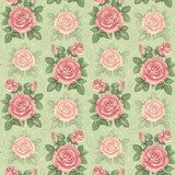 Seamless pattern with watercolor rose illustrations  Rysunki kwiatów Fototapeta
