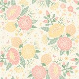 Seamless vintage pattern with decorative flowers.  Draw Flower Fototapeta
