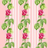 Seamless pattern with red roses flowers. Watercolor illustration  Rysunki kwiatów Fototapeta