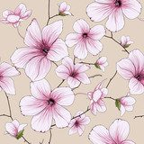 flower blossom illustration  Draw Flower Fototapeta