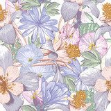 Summer seamless pattern with wildflowers.  Rysunki kwiatów Fototapeta