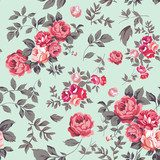 Rose Seamless Pattern  Draw Flower Fototapeta