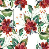 Floral seamless pattern  Draw Flower Fototapeta