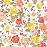 Roses, floral background, seamless pattern.  Draw Flower Fototapeta