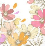 Hand drawn pastel fashion background with flowers  Draw Flower Fototapeta