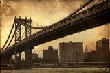 Manhattan Bridge New York City retro style with texture  Fototapety Mosty Fototapeta