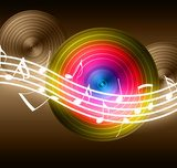Flowing Music Notes on Vinyl Record Background  Fototapety do Pokoju Nastolatka Fototapeta