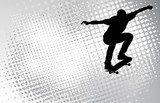skateboarder on the abstract halftone background - vector  Fototapety do Pokoju Nastolatka Fototapeta