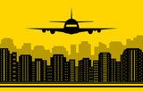 yellow city background with plane  Fototapety do Pokoju Chłopca Fototapeta