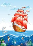 Illustration of a sailboat with red sails.  Fototapety do Pokoju Chłopca Fototapeta