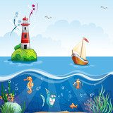 Children's illustration with lighthouse and sailboat.  Fototapety do Pokoju Chłopca Fototapeta