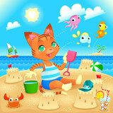 Young cat makes castles on the beach.  Fototapety do Przedszkola Fototapeta