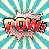 Pow, Comic Speech Bubble. Vector illustration.  Komiks Fototapeta