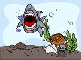 Shark Catching Fish - Vector Illustration  Fototapety Komiks Fototapeta