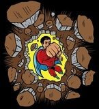 Superhero punching through wall  Fototapety Komiks Fototapeta
