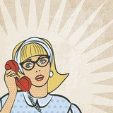 girl with telephone in retro style - vector illustration  Fototapety Komiks Fototapeta