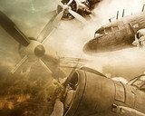 Retro aviation grunge background  Sepia Fototapeta