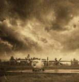 Retro aviation, old airplane  Fototapety Sepia Fototapeta