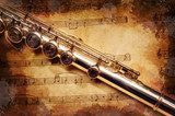 Silver flute on an ancient musical background  Sepia Fototapeta